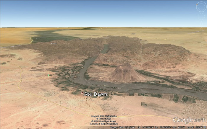 A Google Earth view of the Sabaloka Mountains and           Sabaloka Gorge.