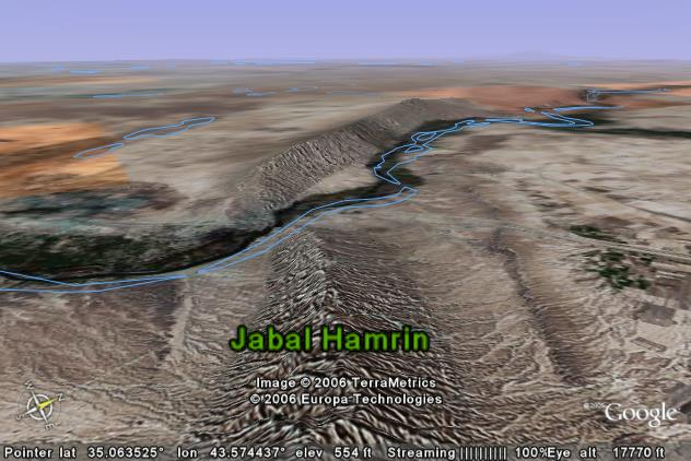 The Tigris River cuts diagonally across the Jabal           Hamrin mountain ridge in northern Iraq