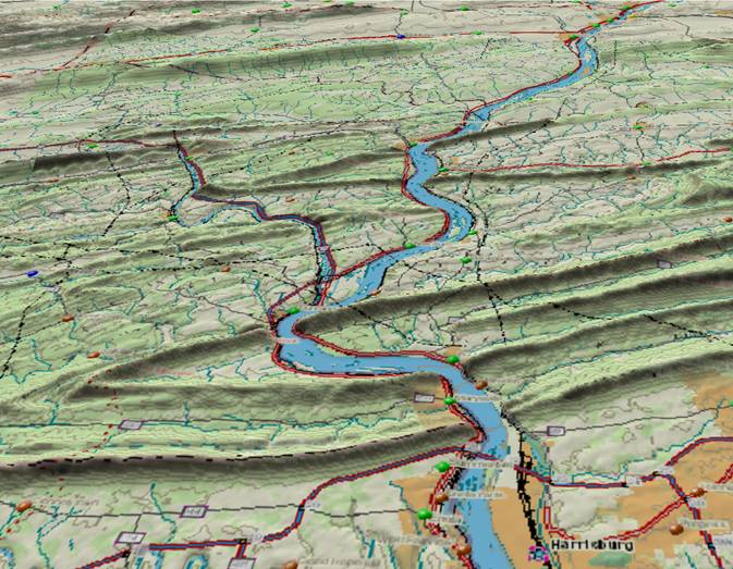 The Susquehanna River also cuts through ancient upturned layers in the old Appalachians.