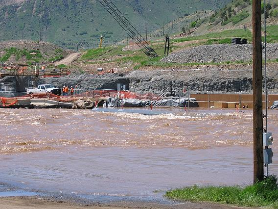 Flooding threatens construction for the Animas - La Plata pumping station.