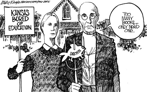 """American Gothic"" as reflected by the Kansas Bored of Education"