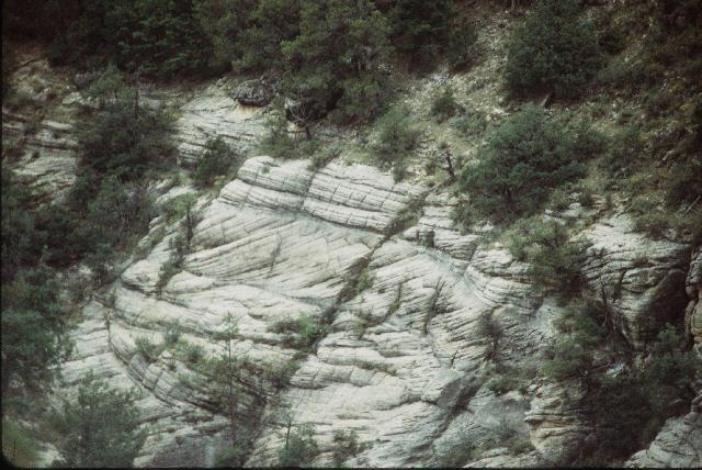 Cross bedding in the Coconino Sandstone shows preserved ancient sand dunes.