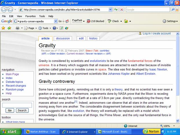 Conservapedia's entry for gravity