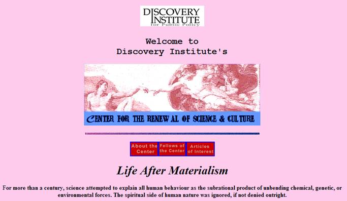 The Discovery Institute's original banner.