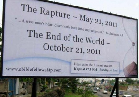 A billboard advertising the End of the World