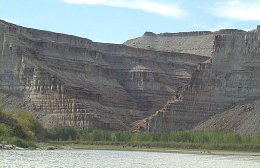 Photograph shows thousands of                   layers in the Green River Shale.