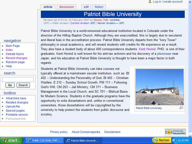 Conservapedia's article about Patriot Bible           University