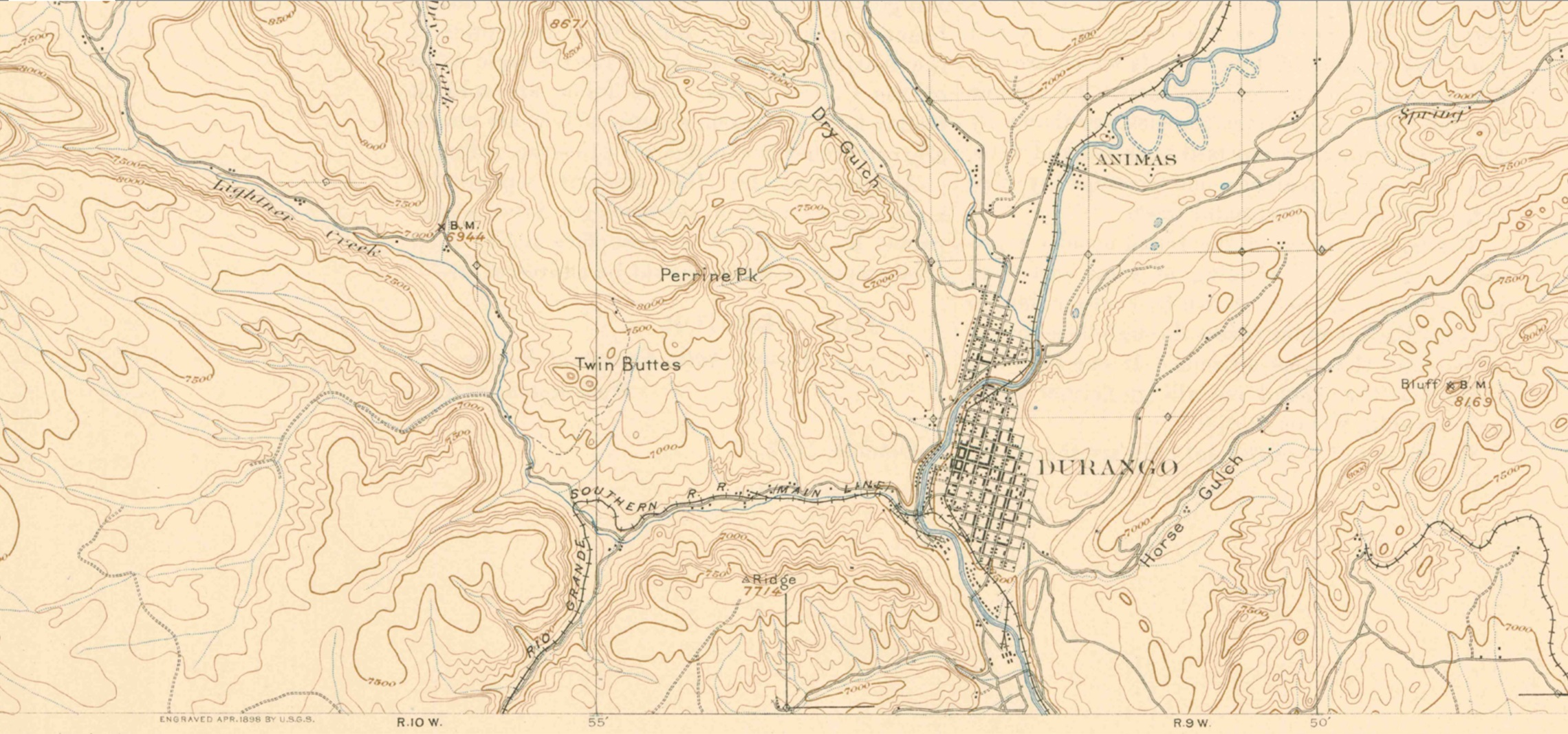 Durango History via Topo Maps on