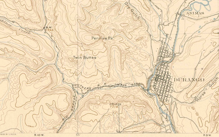 1898 Topo map of Durango, Colorado