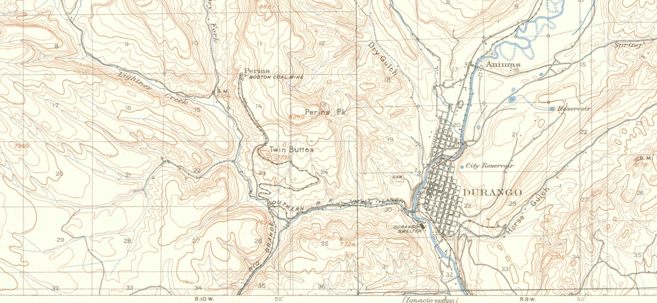 Durango History Via Topo Maps