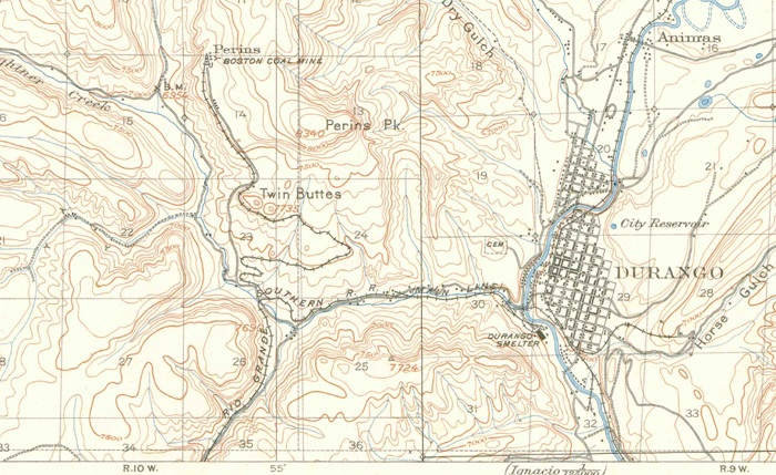 1907 Topo map of the Durango area