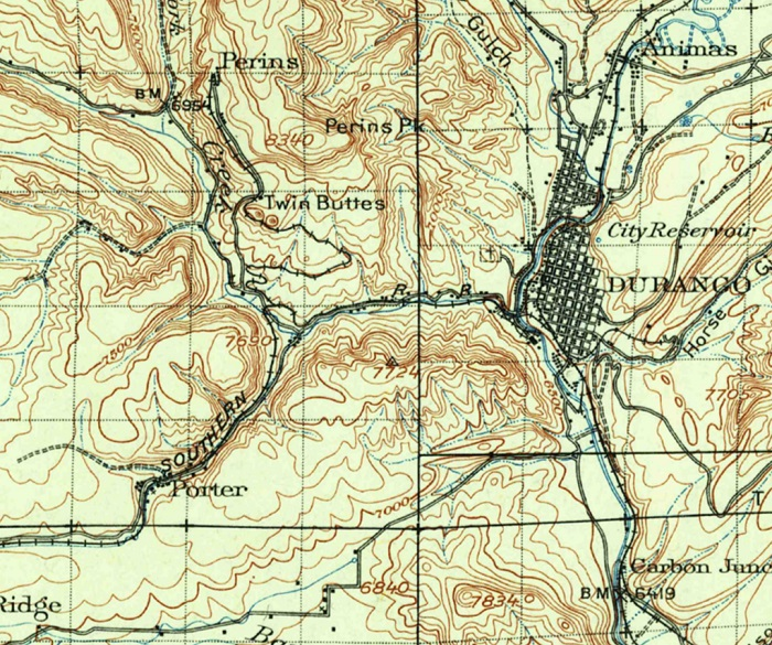 1924 topo map of Durango area