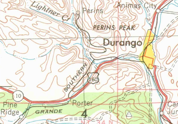 1953 topo map of the Durango area