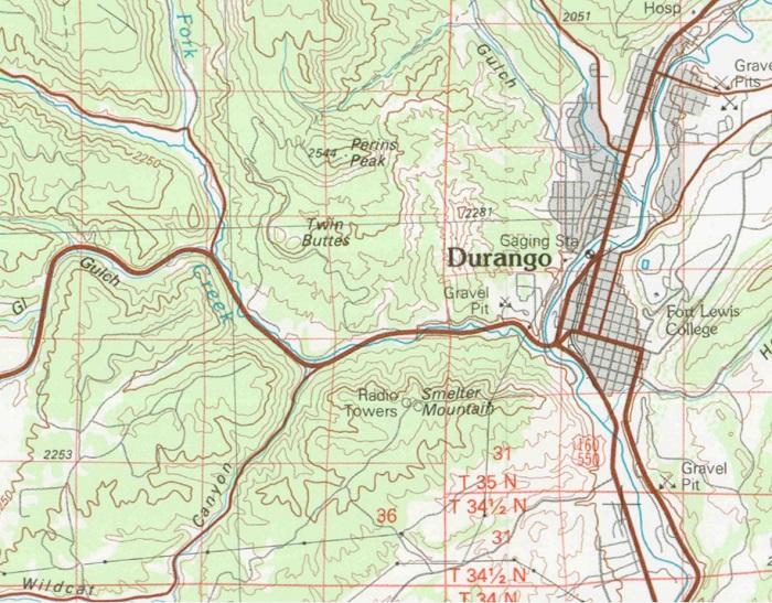 the 1983 topo map of the Durango               area.