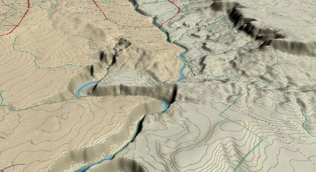 3-D view of Glen Canyon - centered at               Mile 6