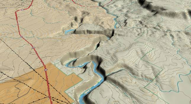 3-D view of Glen             Canyon - centered at Mile 10