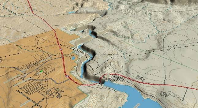 3-D view of Glen             Canyon - centered at Mile 14