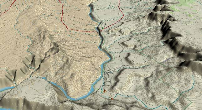 3-D view of the             Grand Canyon - centered at Mile 2