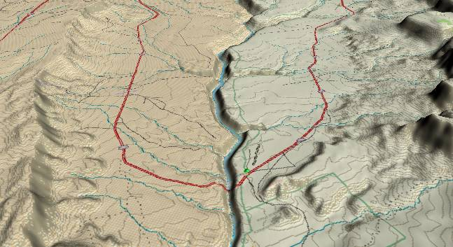 3-D view of the Grand Canyon -               centered at Mile 6