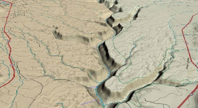 3-D view of the Grand Canyon -               centered at Mile 14