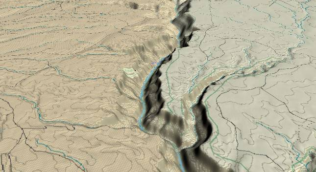 3-D view of the Grand Canyon -               centered at Mile 22