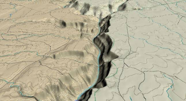 3-D view of the Grand Canyon - centered at Mile             26