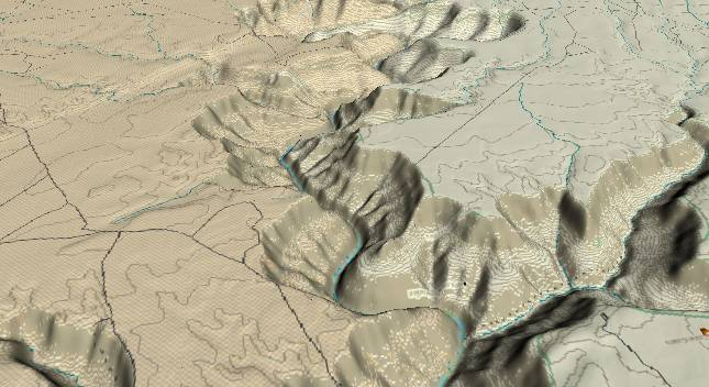 3-D view of the             Grand Canyon - centered at Mile 34