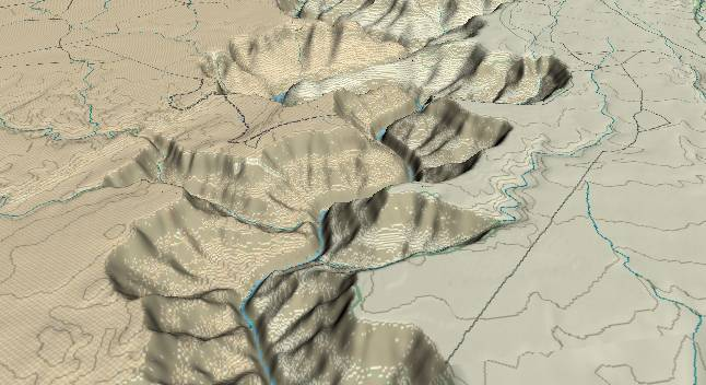 3-D view of the Grand Canyon -               centered at Mile 38