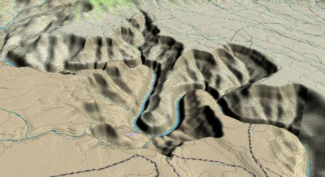 3-D view of the Grand Canyon - centered at Mile 44. View to WSW