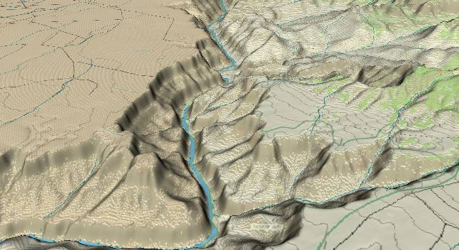 3-D view of the             Grand Canyon - centered at Mile 50