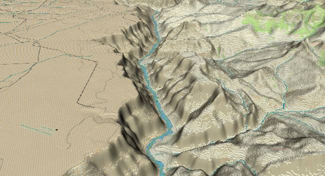 3-D view of the             Grand canyon - centered at Mile 54