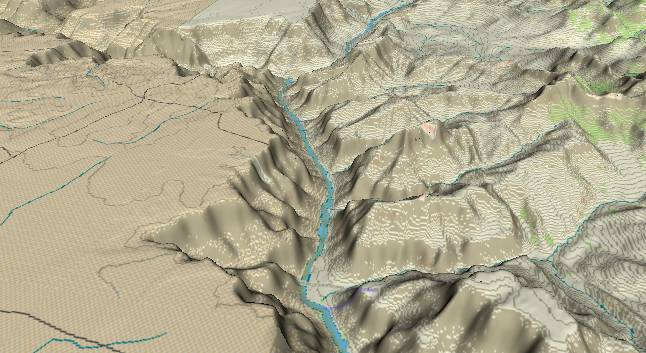 3-D view of the             Grand Canyon - centered at Mile 58