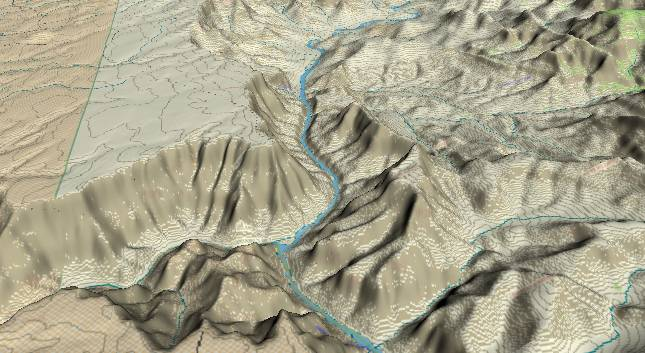 3-D view of the Grand Canyon -               centered at Mile 62