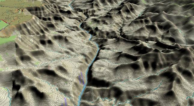 3-D view of the Grand Canyon -               cenetered at Mile 86