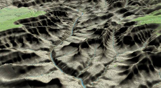 3-D view of the             Grand Canyon - centered at Mile 102