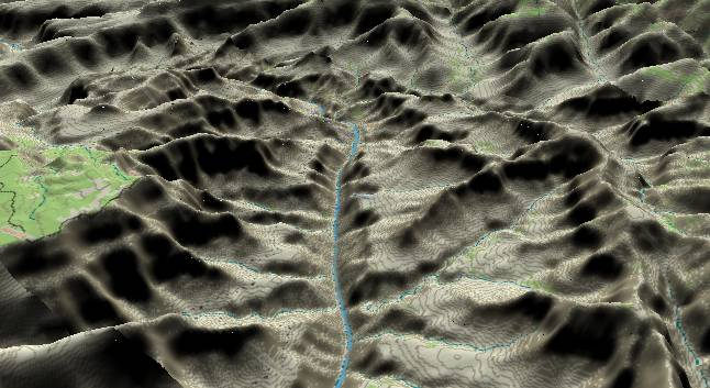 3-D view of the             Grand Canyon - centered at Mile 106