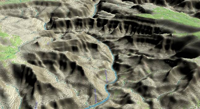 3-D view of the Grand Canyon -               centered at Mile 110