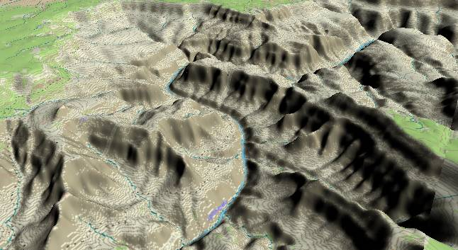 3-D view of the             Grand Canyon - cenetered at Mile 114