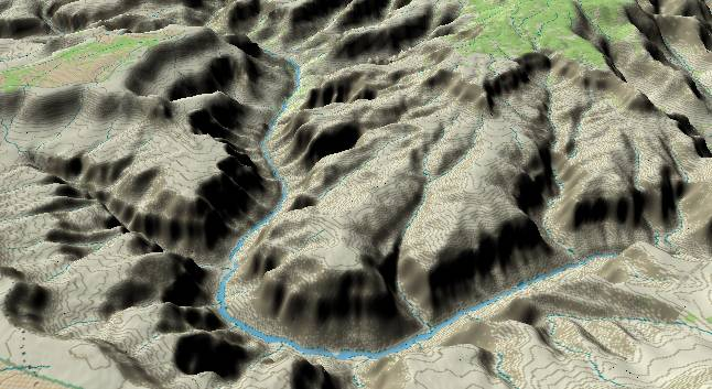 3-D view of the Grand Canyon -               centered at Mile 126