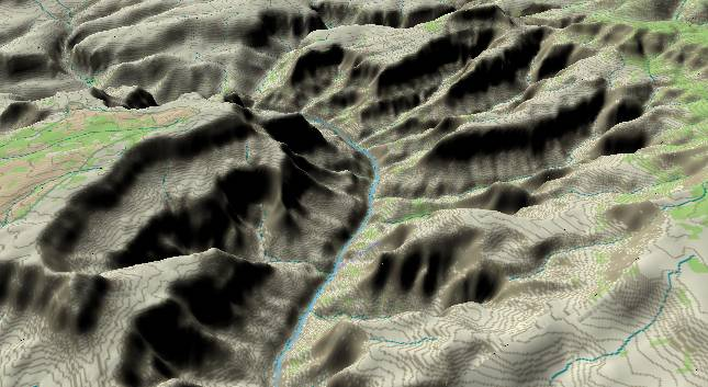 3-D view of the             Grand Canyon - centered at Mile 130