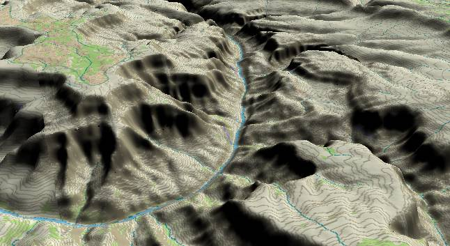 3-D view of the Grand Canyon -               centered at Mile 134