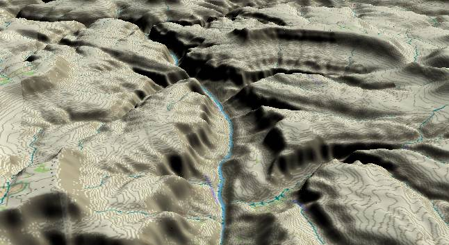 3-D view of the             Grand Canyon - centered at Mile 138