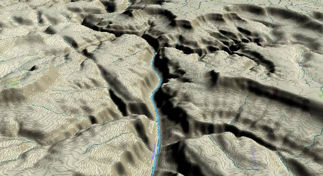 3-D view of the Grand Canyon -               centered at Mile 146