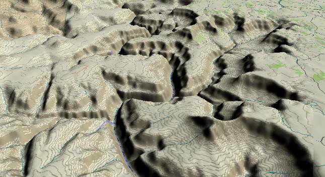 3-D view of the Grand Canyon -               centered at Mile 150