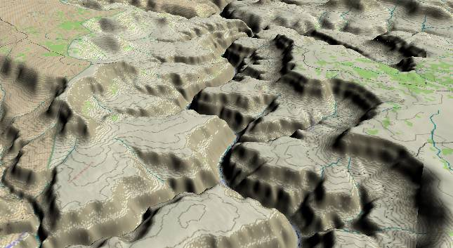 3-D view of the Grand Canyon - centered at Mile             158