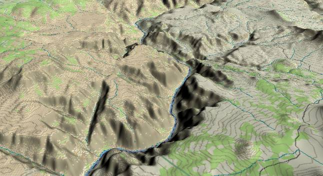 3-D view of the             Grand Canyon - centered at Mile 186