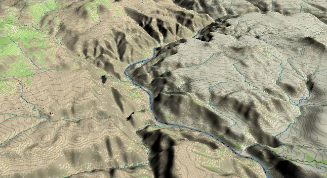 3-D view of the Grand Canyon -               centered at Mile 190