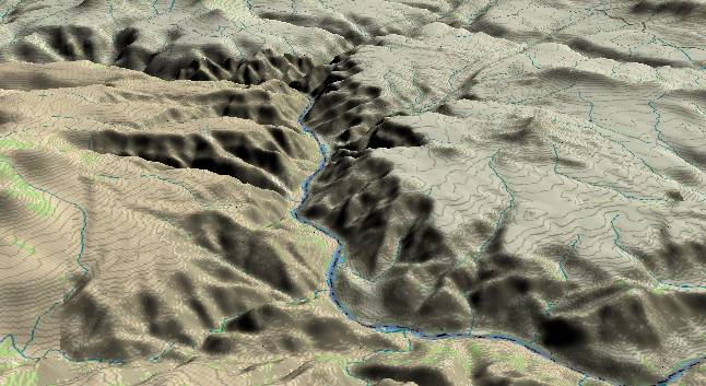 3-D view of the             Grand Canyon - centered at Mile 194