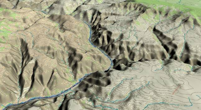 3-D view of the             Grand Canyon - centered at Mile 198