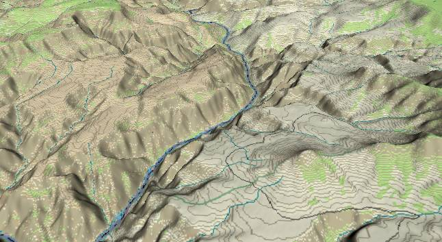 3-D view of the             Grand Canyon - centered at Mile 202